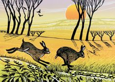 'Hare Chase' By Printmaker Rob Barnes. Blank Art Cards By Green Pebble. www.greenpebble.co.uk