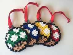 Super Mario Bros. Mushroom Ornaments Set of 4 by theNIFTYnerdette