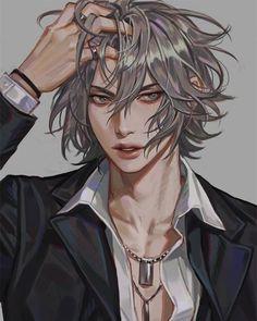 Best Ideas For Design Character Animation Dark Anime Guys, M Anime, Hot Anime Boy, Cute Anime Guys, Anime Boys, White Hair Anime Guy, Anime Boy Zeichnung, Character Inspiration, Character Art