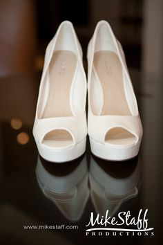 Classic white heels complete the look! #Wedding #Shoes