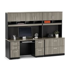 Find a quality Via Credenza and Locking Lateral File Wall Set - 8803878 and other Browse All Office Furniture Sideboard Furniture, Credenza, Bed With Desk Underneath, File Cabinet Desk, Desks For Small Spaces, Lateral File, Grey Desk, L Shaped Desk