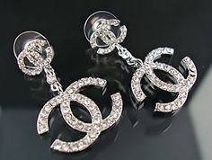 coco chanel silver | Coco Chanel Diamonds Double C Logo Earrings Silver