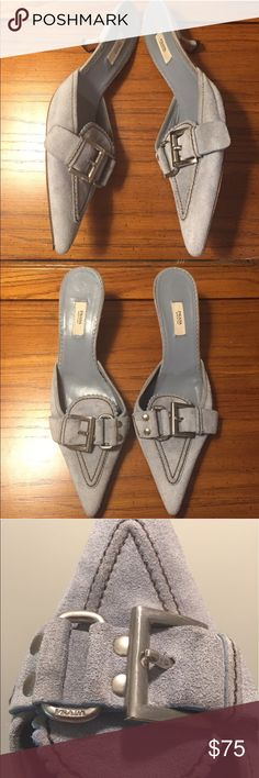 Authentic Prada Suede Buckle Pointed Shoe - 6 Suede Prada Authentic shoe. No box or dust bag. Wear on bottom as shown. Prada Shoes Heels