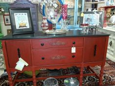 My sweet salvaged sideboard done in my favorite ASCP Emperors Silk...at Home Inspirations in Everett Wa