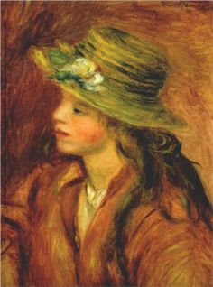 Girl with a straw hat - Pierre-Auguste Renoir