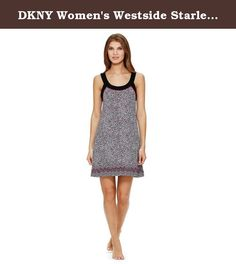 DKNY Women's Westside Starlet Chemise Nightgown (Medium, Black/Pink). 95% Rayon 5% Spandex. Imported. Machine Wash Cold.