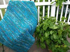 "Peruvian Varigated Afghan,Aruba Sea, Turqua,Olive Green, and Delft Blue (3 ft 4"" X 4 Ft 2 "" ) 144"