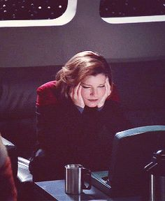 The Captain and Her Coffee — oh-punky: It looks like she's playing Pictionary...