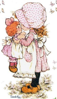 Sarah Kay Kristyl loved anything that resembled Holly Hobby. Sarah Key, Holly Hobbie, Decoupage, Illustrations Vintage, Ann Doll, Raggedy Ann And Andy, Cute Little Girls, Vintage Cards, Vintage Children