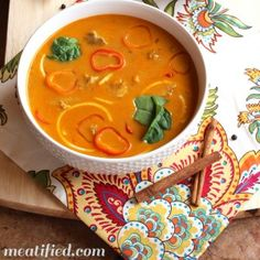 """Moroccan Spiced Chicken """"Noodle"""" Soup and more paleo chicken soup recipes on MyNaturalFamily.com #paleo #chicken #recipe"""