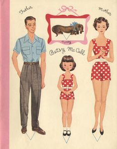 Re-printable 1950s paper doll story book. thoughtfully includes aprons in the mother paper clothes