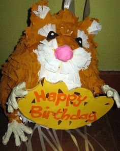 Birthday party Pinata Hamster pull string pinata by PinataShop