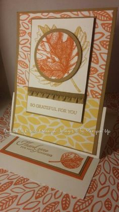 Stampin' Up Vintage Leaves Easel Card with Into the Woods DSP 2015 Holiday Catalog Hello Honey, Baked brown sugar, and tangerine tango