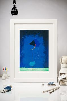 """Giclee Print of Large Abstract Painting, Cyan, Teal, Blue, Red, A4 app.8x11"""" Fine Art Print, Contemporary wall art"""