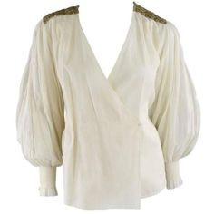 Preowned Oscar De La Renta 8 Beige Linen Sequin Shoulder Bishop Sleeve... ($280) ❤ liked on Polyvore featuring tops, blouses, shirts, brown, linen blouse, brown shirts, sequin shirt, wrap shirt and white linen blouse