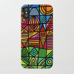 Buy colorful geometric landscape 001 iPhone Case by thewellkeptthing. Worldwide shipping available at Society6.com. Just one of millions of high quality products available.