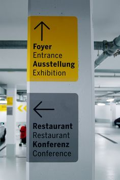 Signage in the garage of the Porsche Museum in Stuttgart, designer unknown