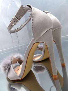 NEU HOHE ELEGANT SANDALEN Hot Luxus Damen Pumps Schuhe Pelz Grau O38 High Heels