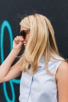 Button down with jewel collar.
