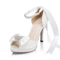 edb8404e3ce779 Femme Chaussures Satin / Satin Elastique Printemps / Eté / Automne Talon  Aiguille Noeud Ivoire / Blanc / Mariage / Soirée & Evénement