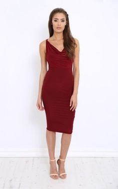 Imogen maroon plunge slinky bodycon dress by LullaBellz Product photo
