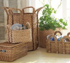 Beachcomber Baskets | Pottery Barn extra large round $129; high rectangular $199; oversized rectangular $129; low rectangular $99; all-in-one organizer $69; lidded basket $99