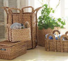 Beachcomber Baskets   Pottery Barn extra large round $129; high rectangular $199; oversized rectangular $129; low rectangular $99; all-in-one organizer $69; lidded basket $99