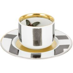 Christian Lacroix Sol Y Sombra Coffee Cup & Saucer ($98) ❤ liked on Polyvore featuring home, kitchen & dining, drinkware, porcelain tea cups and saucers, coffee cup, coffee cups and saucers, tea saucer and christian lacroix