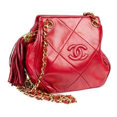 695d488647bc Vintage Chanel Red Lambskin Crossbody Bag