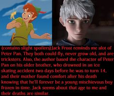 peter pan and jack frost- are they brothers or cousins? (Or just character's with strong thematic similarities, a literary kinship)