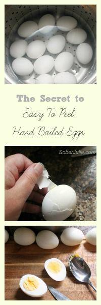 Easy to peel hard boiled eggs @SoberJulie.com #Eggs