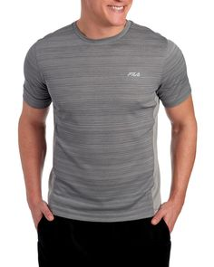 FILA Space Dye Hybrid Crewneck Tee | XL |  polyester Mens Gloves, Cool Tees, Hats For Men, Crew Neck, Tee Shirts, Short Sleeves, Neckline, Pullover, Space