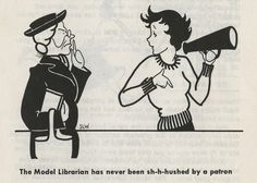 Patrons Are People: How to Be a Model Librarian, published by the American Library Association in 1956 illustrated by Sarah Leslie Wallace.