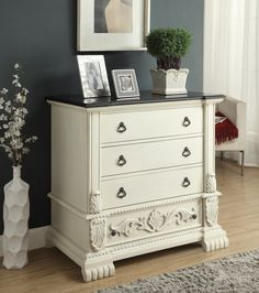 Tradition gets a luxurious twist in this Powell Pennington Marble Top Chest . Elaborate carvings include acanthus leaves, shell and scrollwork,. Powell Furniture, Hand Painted Furniture, Dresser As Nightstand, Marble Top, Color Splash, Favorite Color, Table, Console, Home Decor