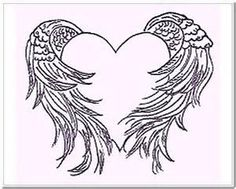 pics of angle wings wrapped around a heart - Bing Images