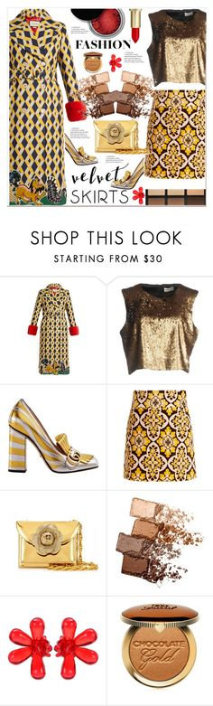 """""""Obsession: Velvet Skirt"""" by ventevent ❤ liked on Polyvore featuring Gucci, Concrete Minerals, Nineminutes, La DoubleJ, Oscar de la Renta, Maybelline, Simone Rocha, Too Faced Cosmetics, gucci and polyvoreeditorial"""