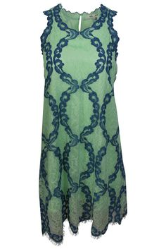 735db146821c1 Max Studio Women s Green Blue Floral Lace Sleeveless A-Line Cocktail Dress