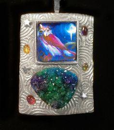 Owl Night Guide Druzy Silver Finish Pendant by ArtsofAvalonJewelry, $65.00