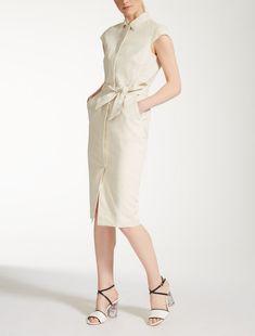 Max Mara GESSO ivoire: Robe en toile de lin.