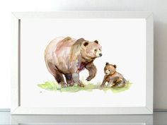 Brown Bear art mother and baby bear Watercolor painting
