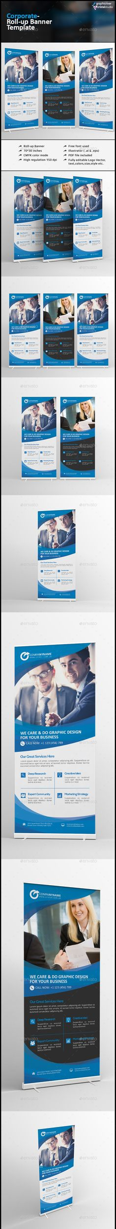 Buy Roll Up Banner by CRISTAL_P on GraphicRiver. Corporate Roll-up Banner is very easy to use and change text,color,size,look and everything because i made it on ill. Signage Design, Banner Design, Flyer Design, Banner Vector, Banner Template, Cool Business Cards, Business Flyer, Rollup Banner, Retail Signage
