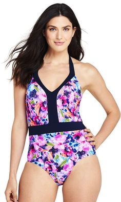 5517e1ac218 Lands end Women s Perfect V-neck One Piece Swimsuit with Tummy Control   runway