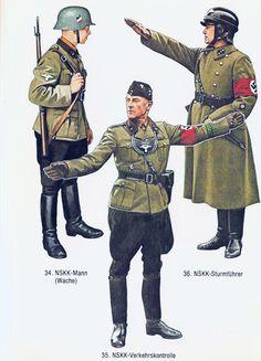 NSKK (Nationalsozialistisches Kraftfahrkorps) Corpo paramilitare addetto ai trasporti - 34 NSKK-Mann (wache) - 35 NSKK-Verkehrskontrolle - 36 - NSKK- Stuermfuehrer.