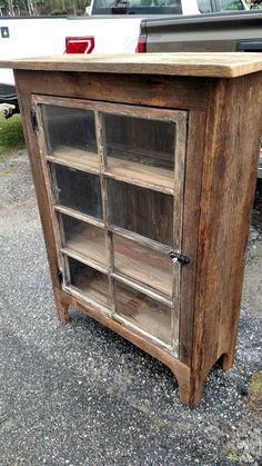 Quilt storage Barnwood heart pine cabinet with old window as the door Vintage Industrial Furniture, Repurposed Furniture, Pallet Furniture, Furniture Projects, Rustic Furniture, Furniture Makeover, Furniture Design, Woodworking Furniture, Cheap Furniture