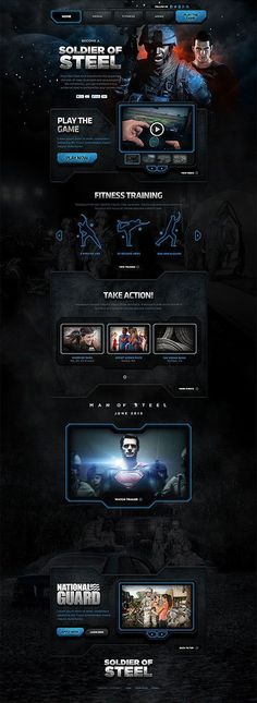 Unique Web Design, Soldier Of Steel #WebDesign #Design (http://www.pinterest.com/aldenchong/)