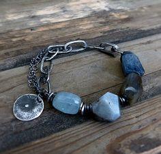 Blue Kyanite Bracelet and Raw Sterling Silver - Artisan Jewelry - Boho Bracelet - Beach Jewelry by COTELLE on Etsy https://www.etsy.com/listing/243336881/blue-kyanite-bracelet-and-raw-sterling