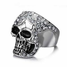 Skull Ring Biker Band with CZ Cubic Zirconia Inlay