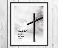 Give the devil a mental breakdown and praise Jesus - Bible Christian quote - The Cross - Bible verse - Black & White - Instant download -