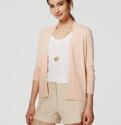Ribbed Open Cardigan | Loft