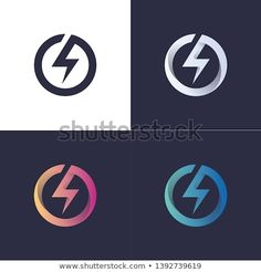 circle logo with lightning / electric / power in 4 colors Source by logo Lightning Electric, Lightning Logo, Electric Power, Electrical Company Logo, Electricity Logo, Power Logo, 10 Logo, Sun Power, Monogram